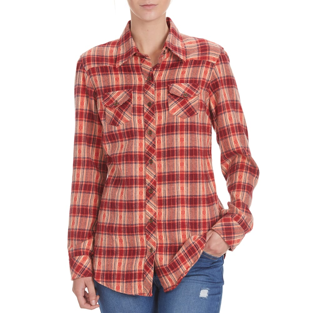 ANGIE Juniors' Western Two-Pocket Flannel Shirt - MR14 PEACH/BURG
