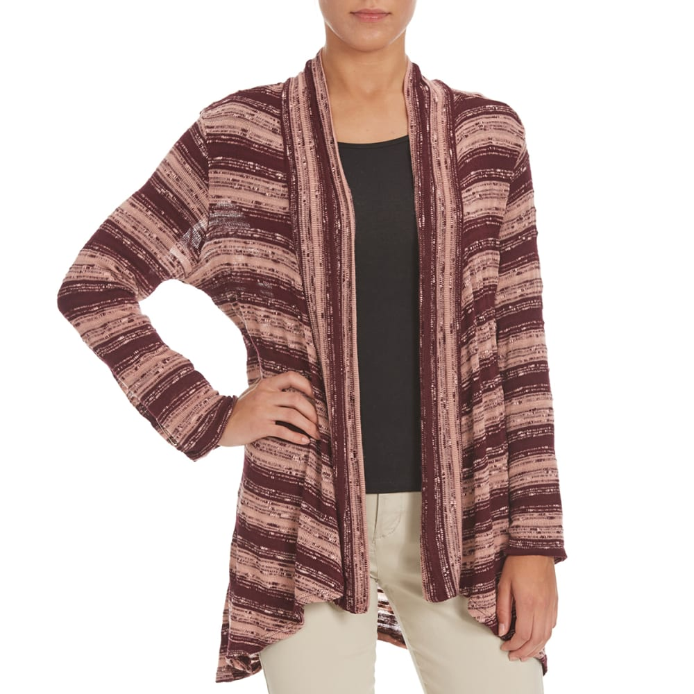 COUPÉ COLLECTION Women's Striped Open Cardigan - PLUM