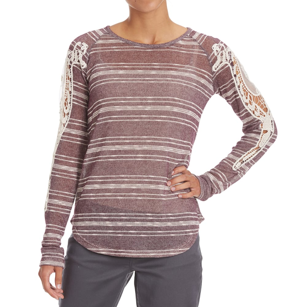 COUPÉ COLLECTION Women's Crochet Shoulder Striped Top - HEATHER PLUM
