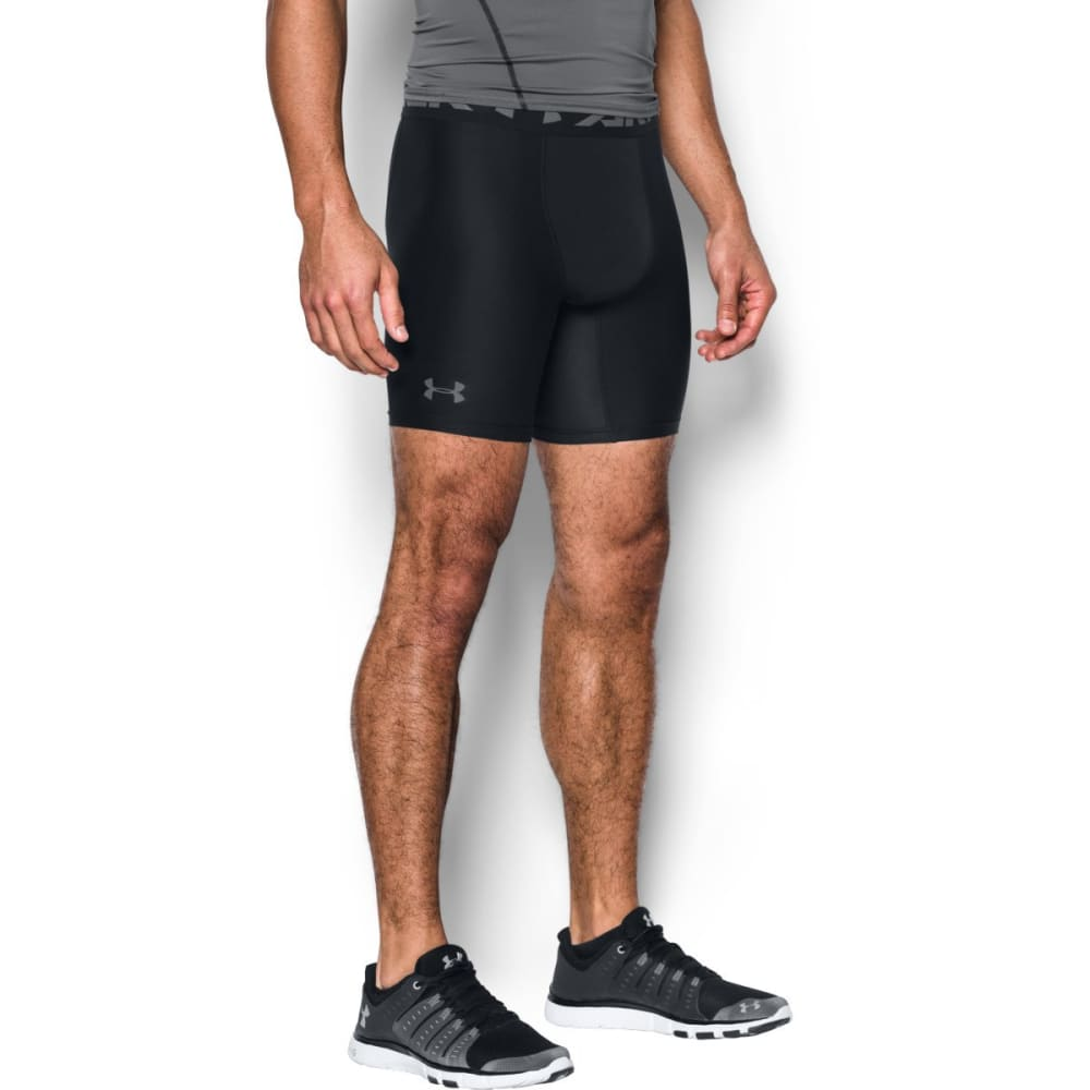 UNDER ARMOUR Men's HeatGear Armour Mid Compression Shorts - BLACK-001