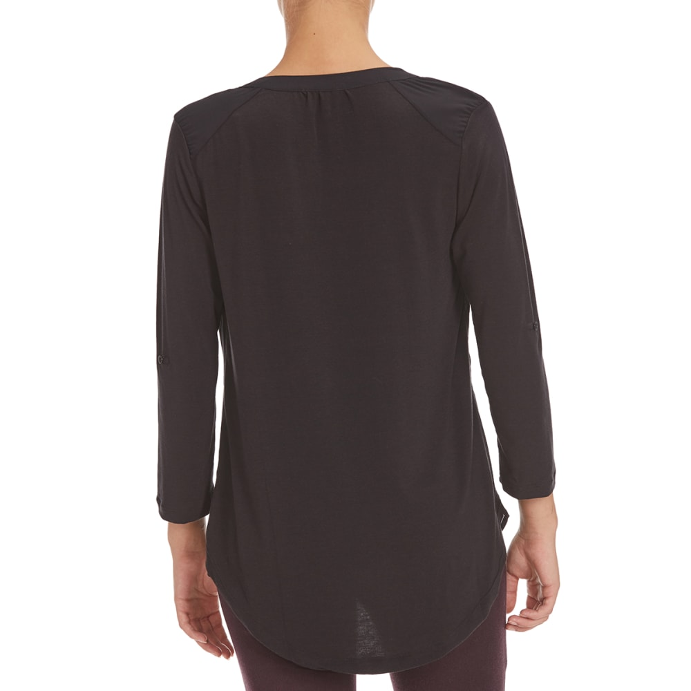 POOF Women's Mixed Media Split Neck Top - BLACK