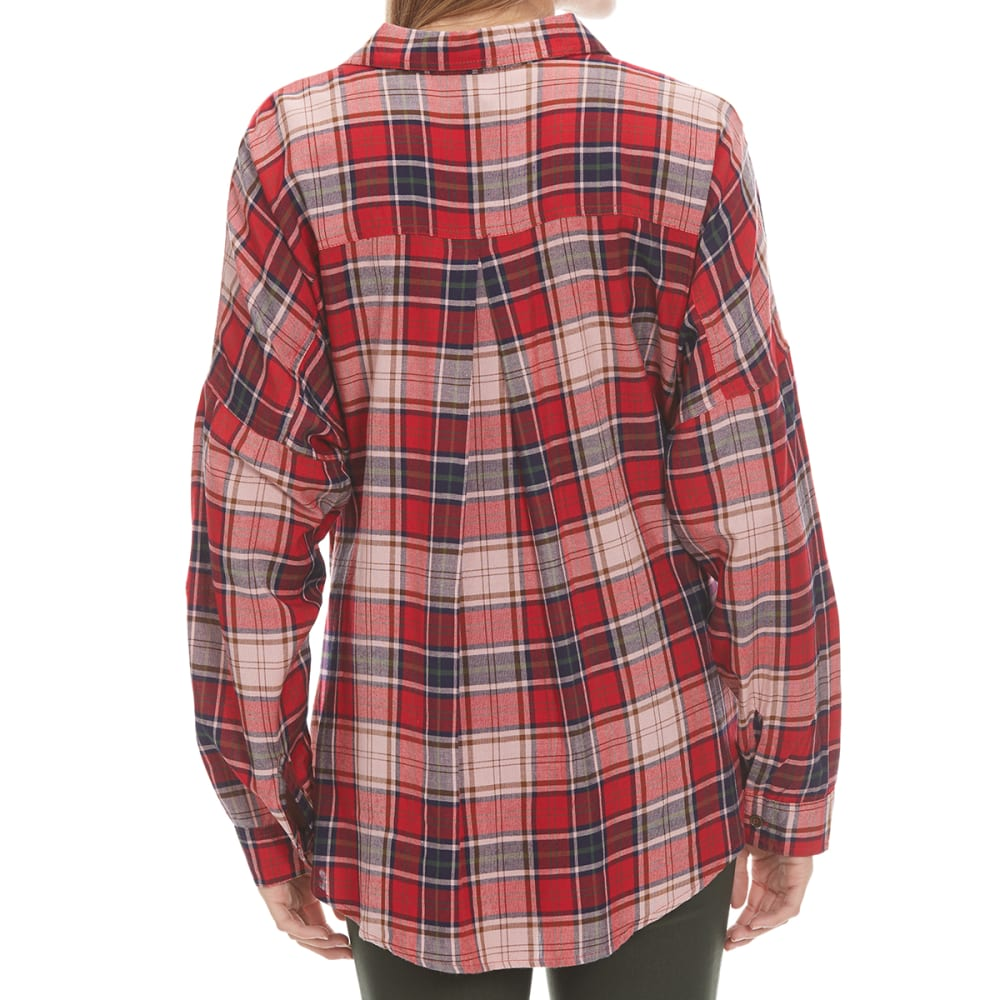 ANGIE Juniors' Flannel Front Wrap Button Up Shirt - MR37-RED