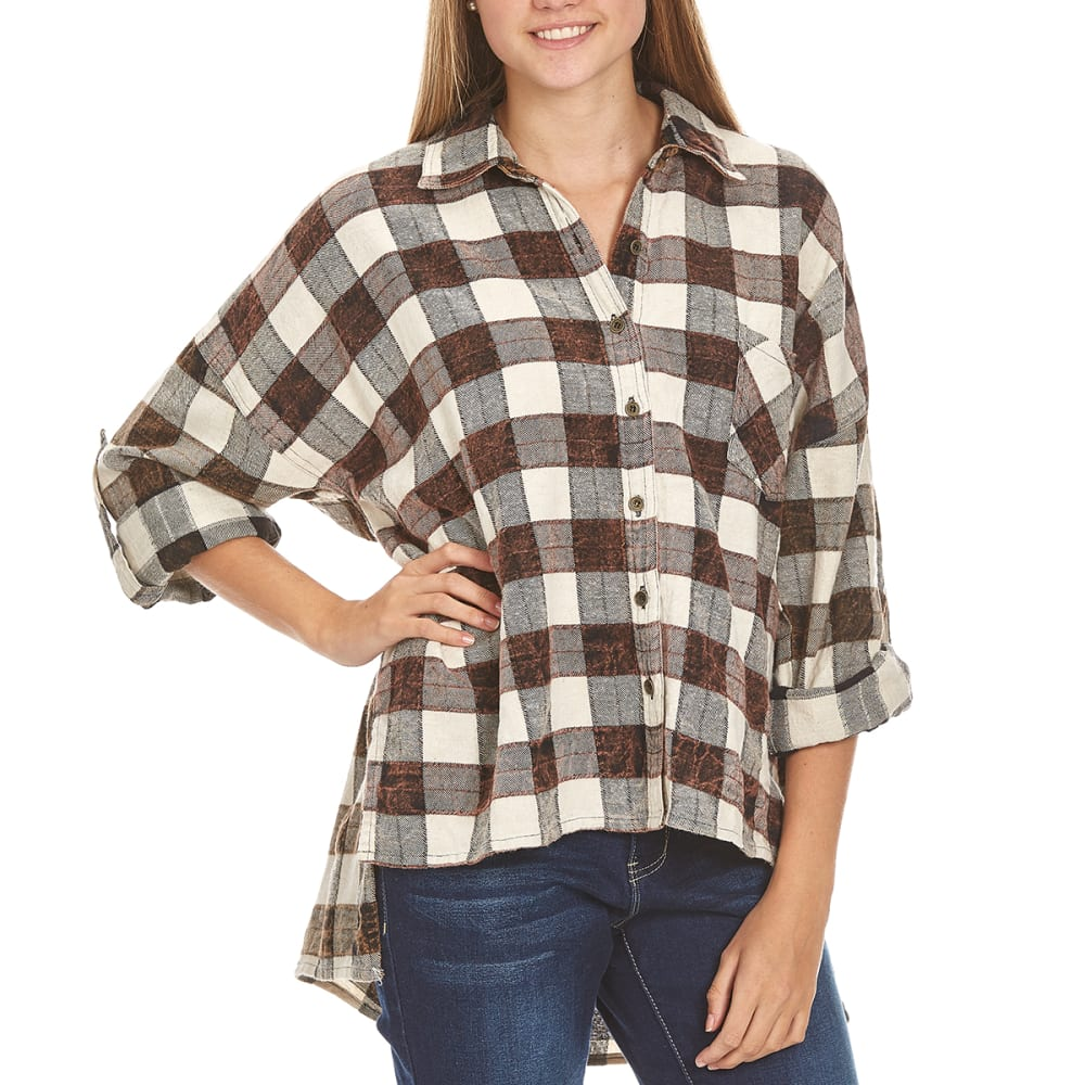ANGIE Juniors' Hi-Lo Hem Plaid Flannel Shirt - N567-CREAM
