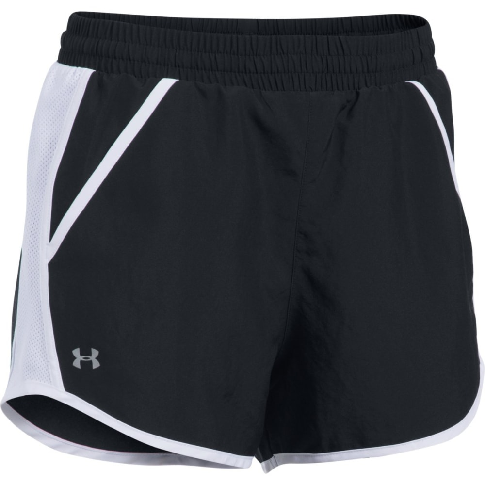 UNDER ARMOUR Women's Fly By Shorts - BLACK/WHT-001