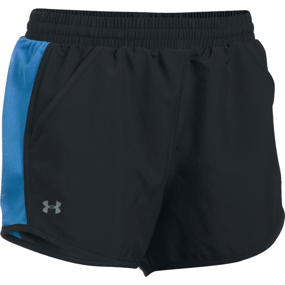 UNDER ARMOUR Women's Fly By Shorts - BLK/MEDITERRAN -004