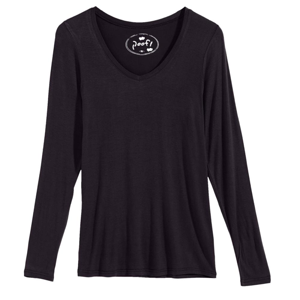 POOF Juniors' V-Neck Long-Sleeve Tee - BLACK