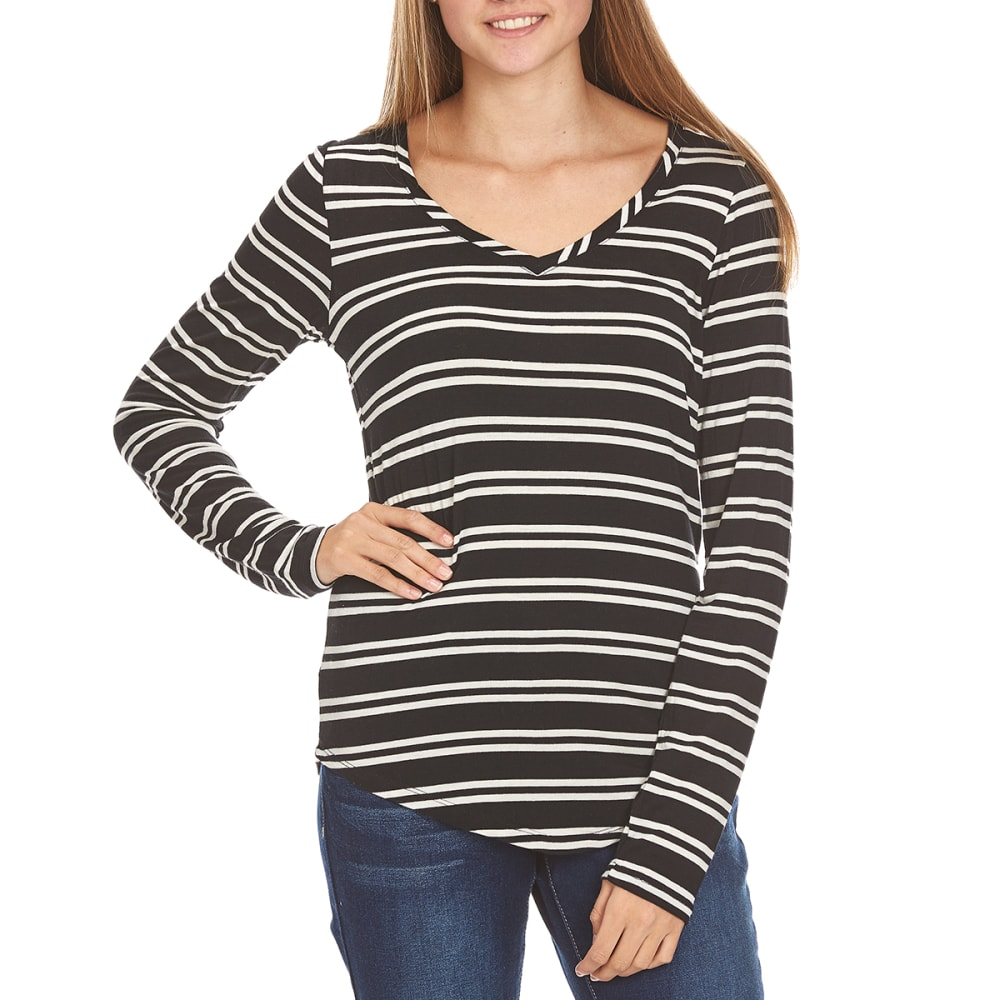 POOF Juniors' V-Neck Stripe Tee - BLACK/IVORY