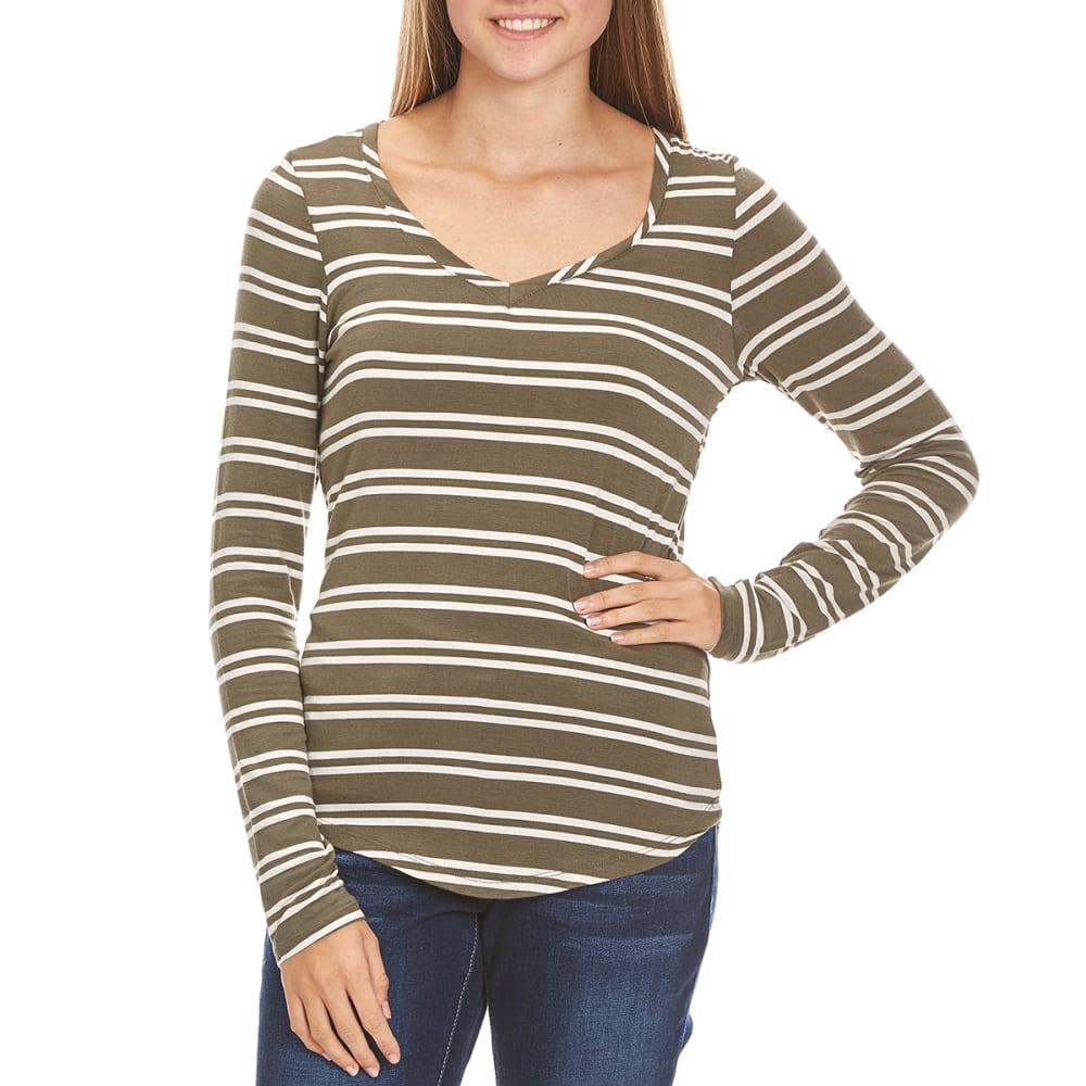 POOF Juniors' V-Neck Stripe Tee - BURNT OLIVE/IVORY