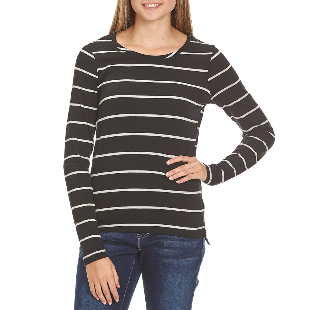 POOF Juniors' Striped Crewneck Tee with High-Low Step Hem - BLACK/OATMEAL