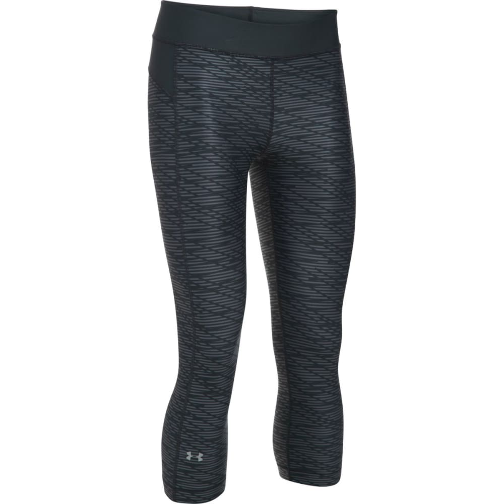 UNDER ARMOUR Women's HeatGear Armour Printed Capris - BLACK-001