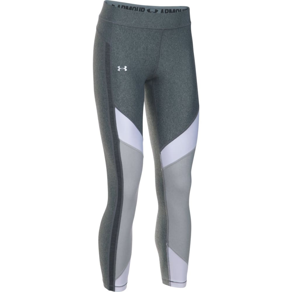 UNDER ARMOUR Women's HeatGear® Color Blocked Ankle Capris Leggings - CARBON/WHITE-090