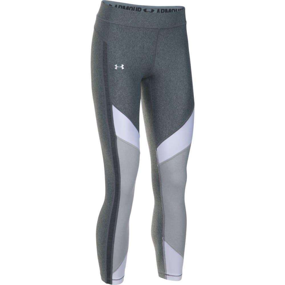 UNDER ARMOUR Women's HeatGear® Color Blocked Ankle Capris Leggings - CARBON/WHITE-090