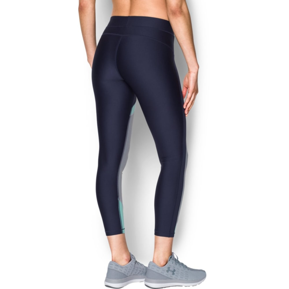 UNDER ARMOUR Women's HeatGear Color Blocked Ankle Capris Leggings - MDN/BLU INFINITY-412