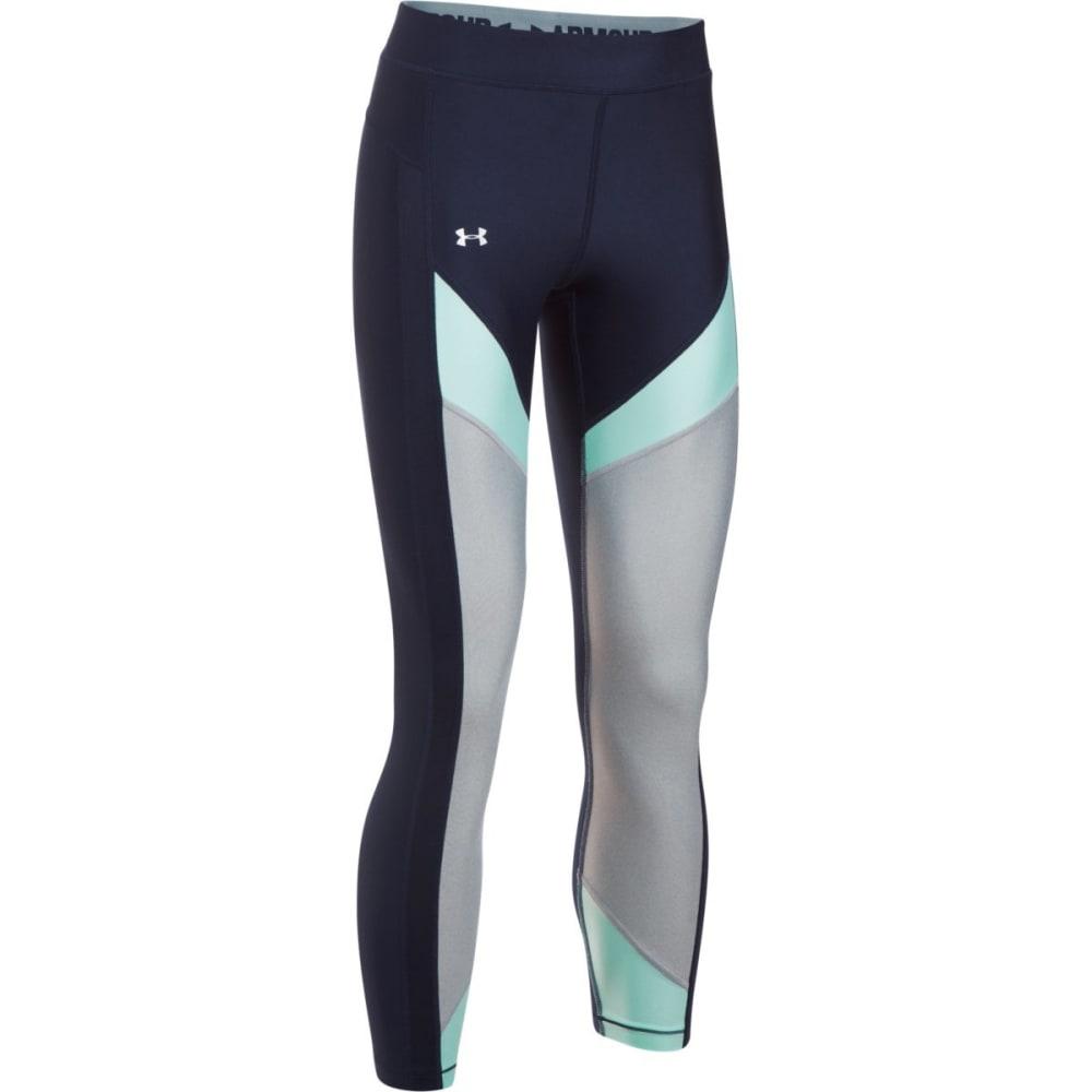 UNDER ARMOUR Women's HeatGear Color Blocked Ankle Capris Leggings - MDN/BLU INFINITY-412