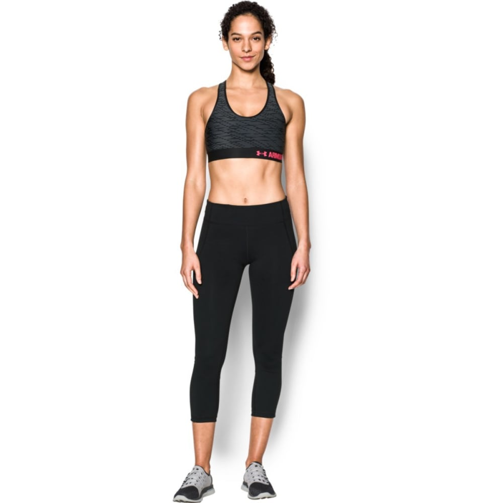UNDER ARMOUR Women's Armour Mid Printed Sports Bra - BLACK/PINK SHOCK-016