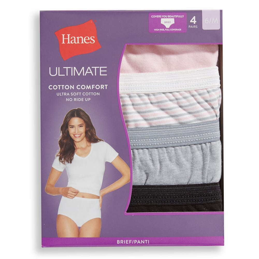 HANES Women's Ultimate Briefs, 4 Pack - ASSORTED