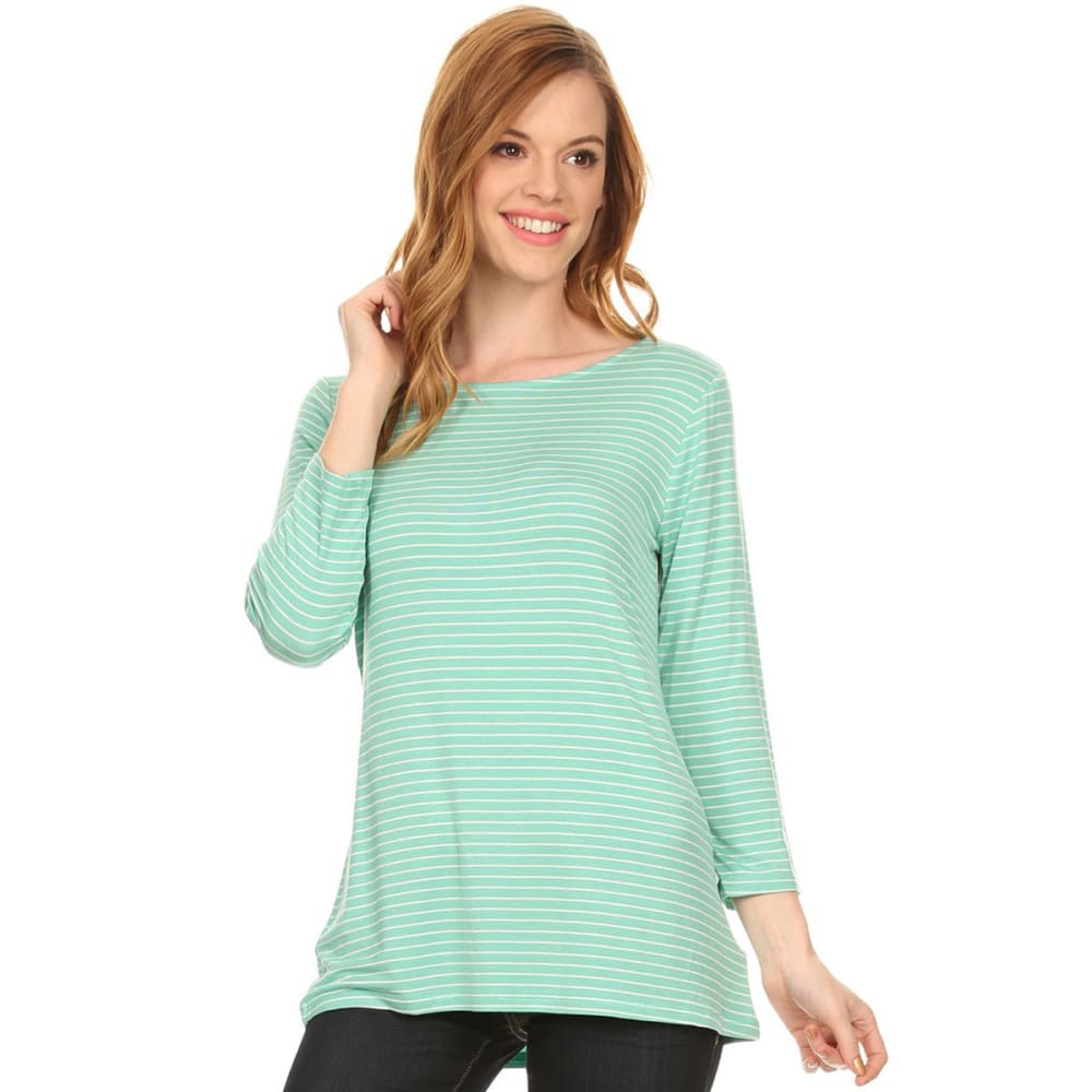 TRESICS FEMME Women's Striped ¾ Sleeve Tee - P8762-MINT/OFFWHT
