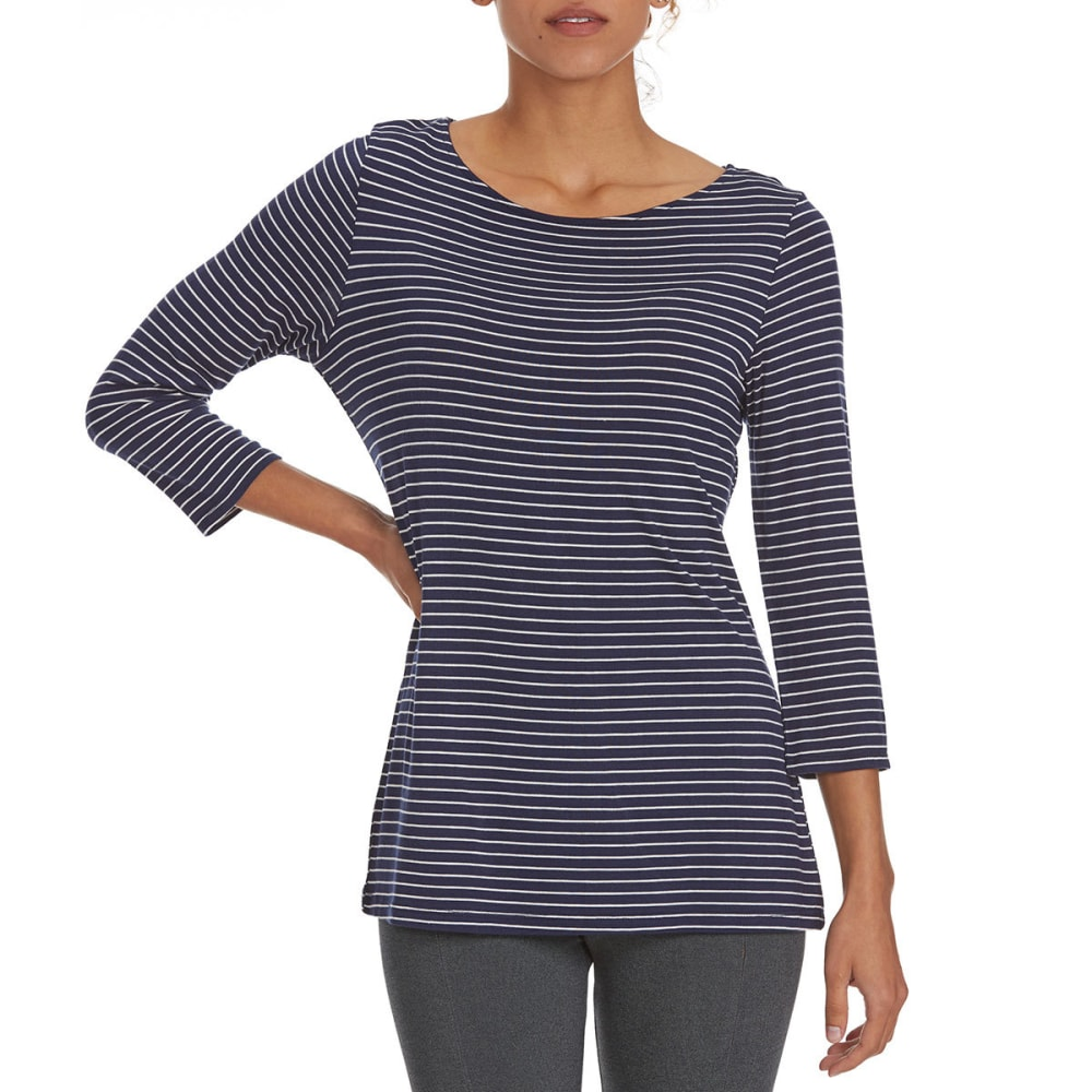 TRESICS FEMME Women's Striped ¾ Sleeve Tee - P8763-NAVY/OFFWHT