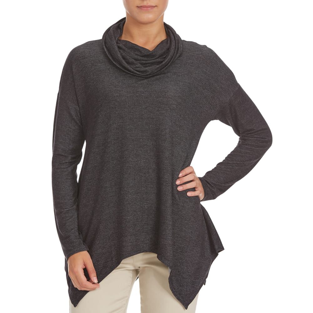 FEMME Women's Baby Terry Shark Hem Cowl Neck Sweater - SALT/PEPPER