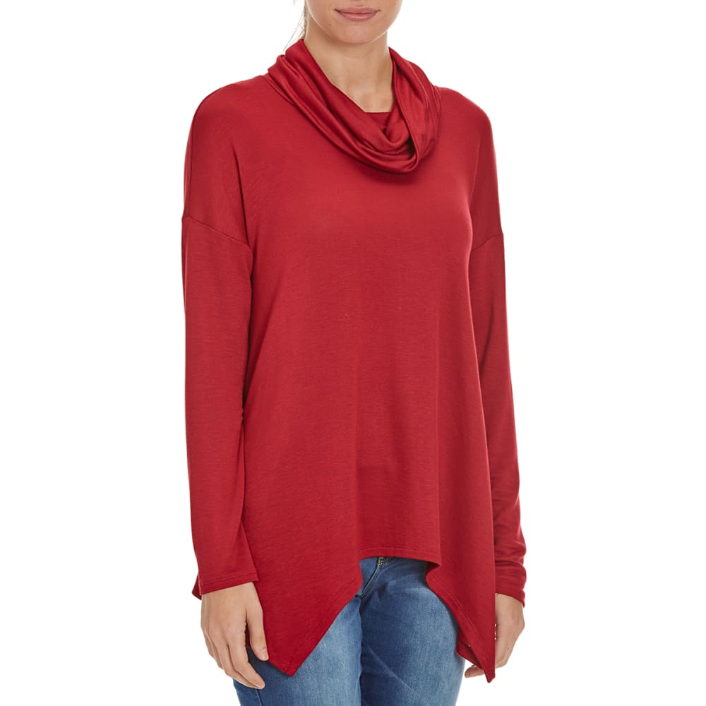 FEMME Women's Baby Terry Shark Hem Cowl Neck Sweater - BURGUNDY
