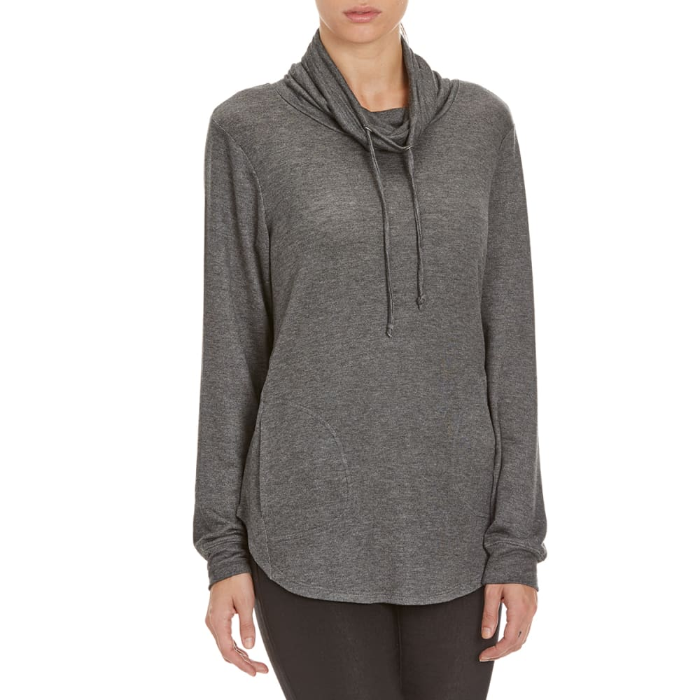 FEMME Women's Baby Terry Pullover Cowl Neck Sweater - CHARCOAL