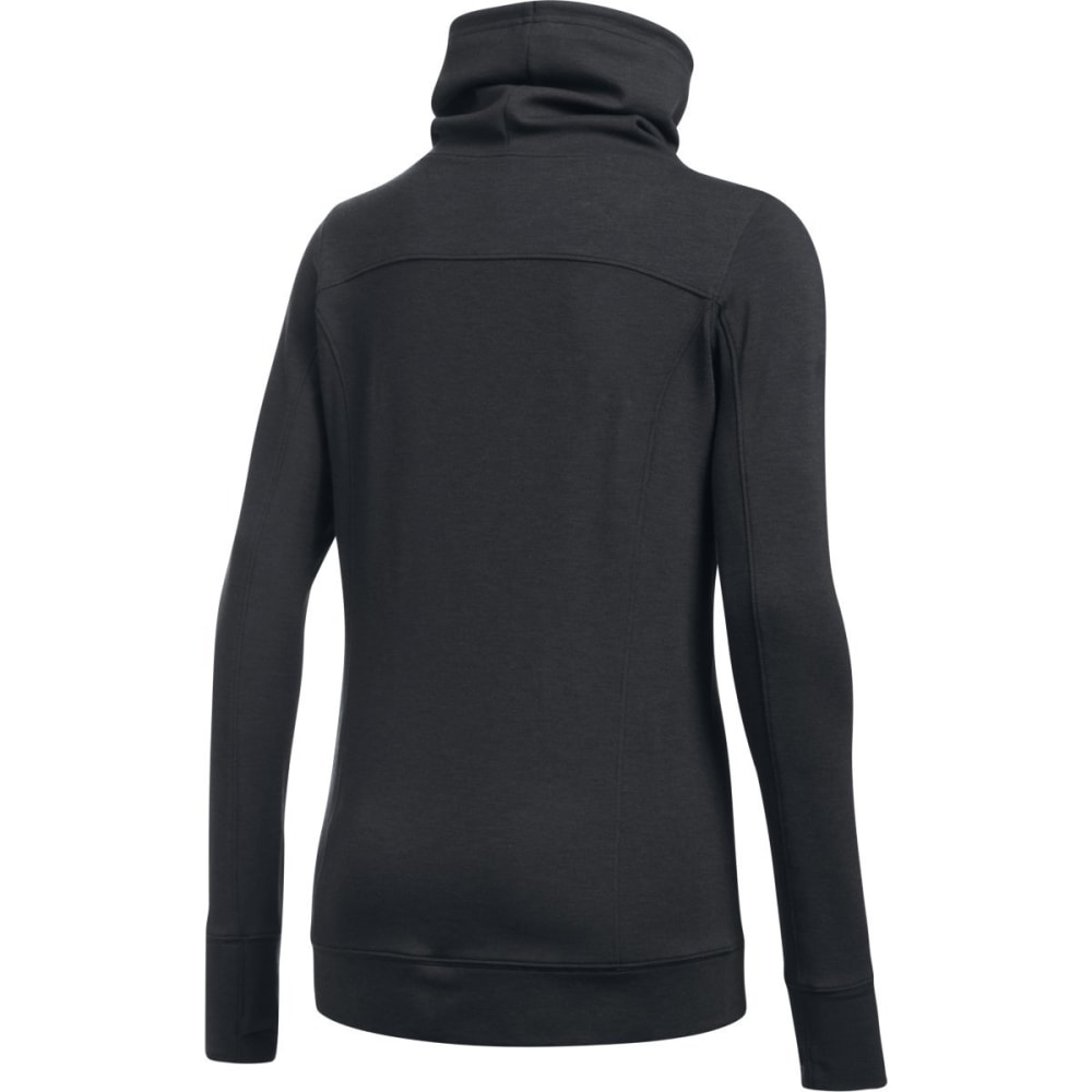 UNDER ARMOUR Women's Featherweight Fleece Slouch Collar Sweatshirt - BLACK-002