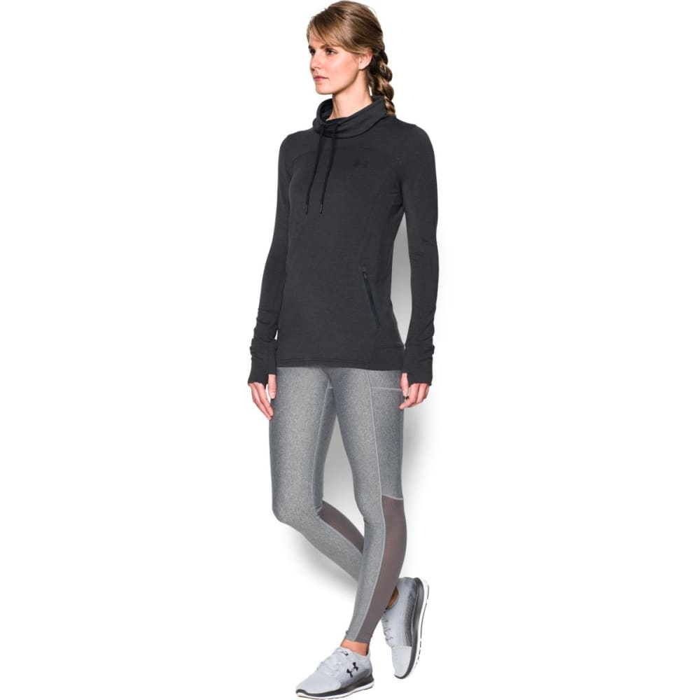 UNDER ARMOUR Women's Featherweight Fleece Slouch Collar Sweatshirt - BLACK-002