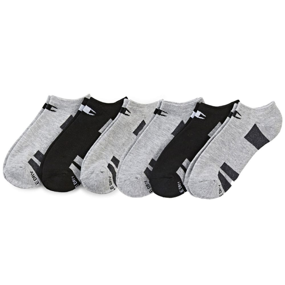 CHAMPION Women's No Show Socks, 6 Pack - GREY/BLK ASSORTED