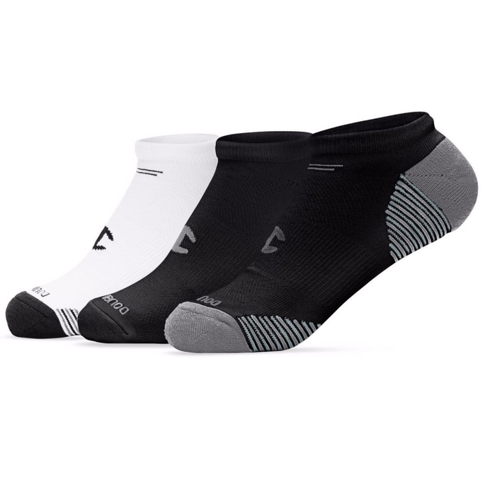 CHAMPION Women's No Show Socks, 3 Pack - BLACK/GREY