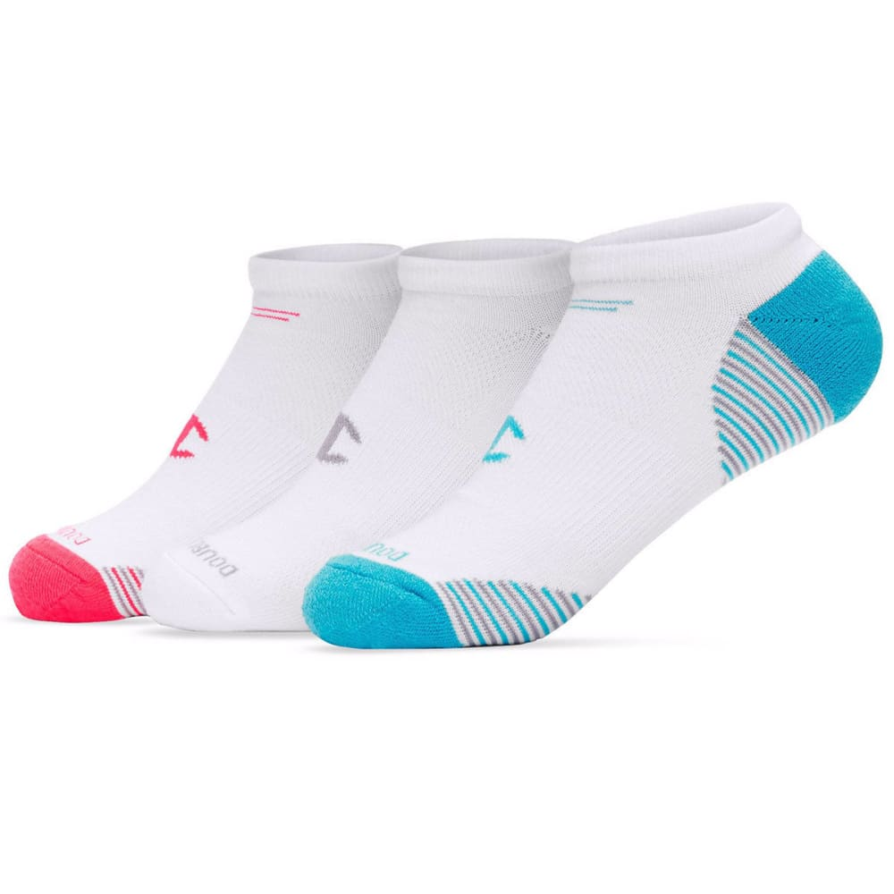 CHAMPION Women's No Show Socks, 3 Pack - WHITE/PINK