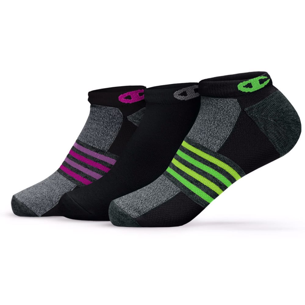 CHAMPION Women's No-Show Training Socks, 3 Pack - BLACK/PURPLE
