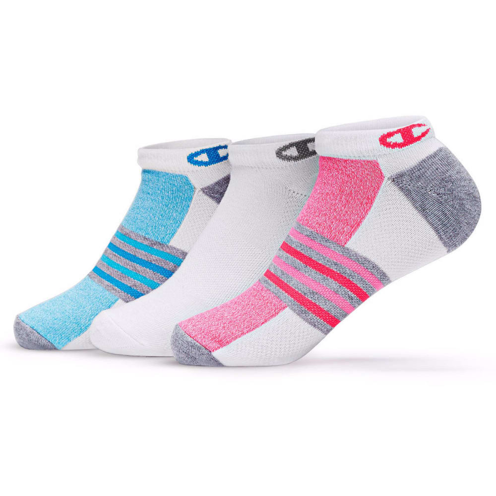 CHAMPION Women's No-Show Training Socks, 3 Pack - WHITE/PINK