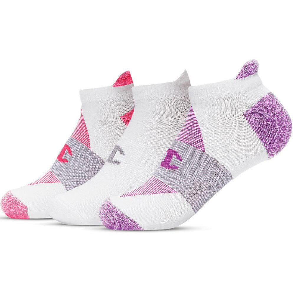 CHAMPION Women's Heel Shield Socks, 3 Pack - WHITE/PINK