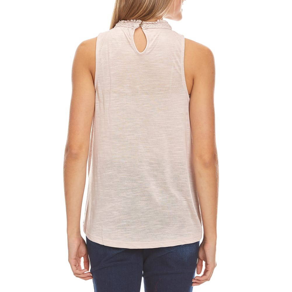TAYLOR & SAGE Juniors' High-Neck Lace Bib Tank - PIW-PIONEER WOOD