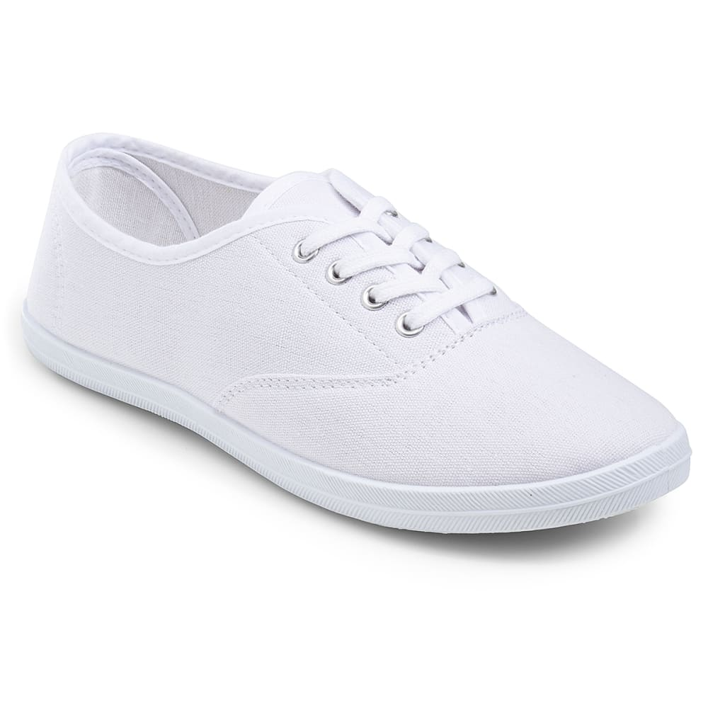 WILD DIVA Women's Marsden Canvas Sneakers - WHITE
