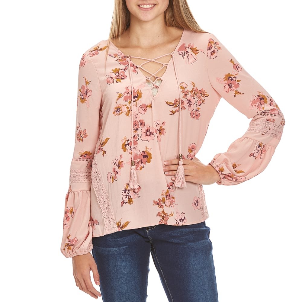 TAYLOR & SAGE Juniors' Floral Lace-Up Peasant Top - RPI-ROMANTIC PINK