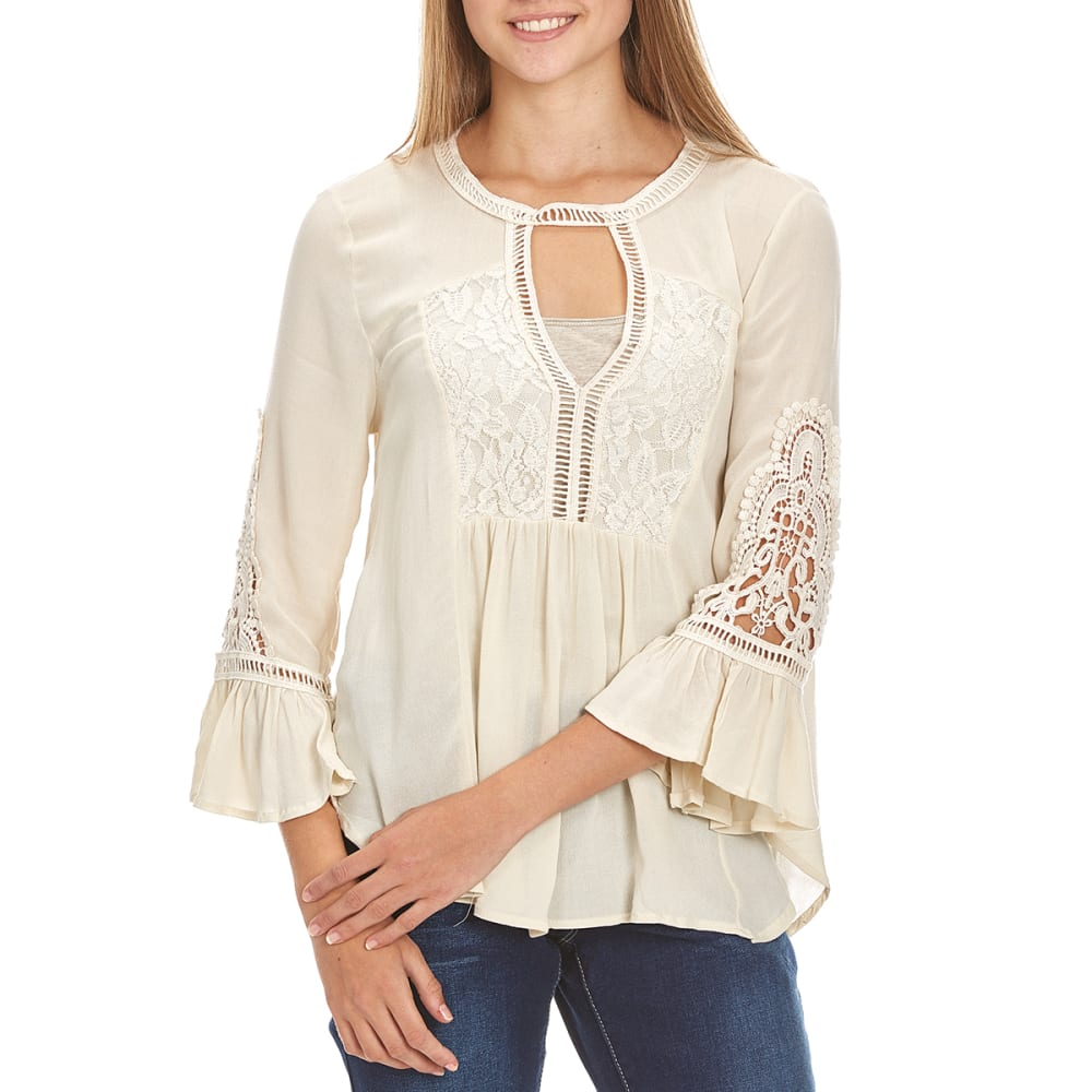 TAYLOR & SAGE Juniors' Lace Inset Cutout Neckline Top - NAT-NATURAL