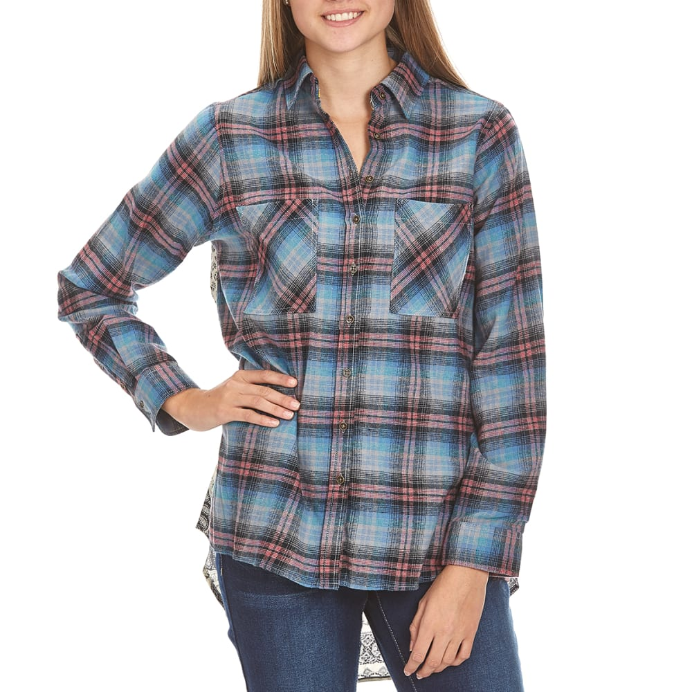 TAYLOR & SAGE Juniors' Flannel Printed Back High-Low Top - BHZ-BLUE HAZE