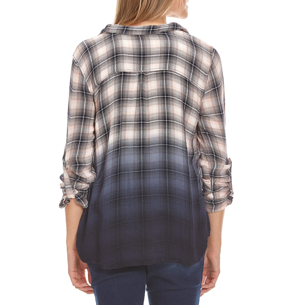 TAYLOR & SAGE Juniors' Plaid Lace-Up Dip-Dye Tunic Top - INS-INDIGO STORM