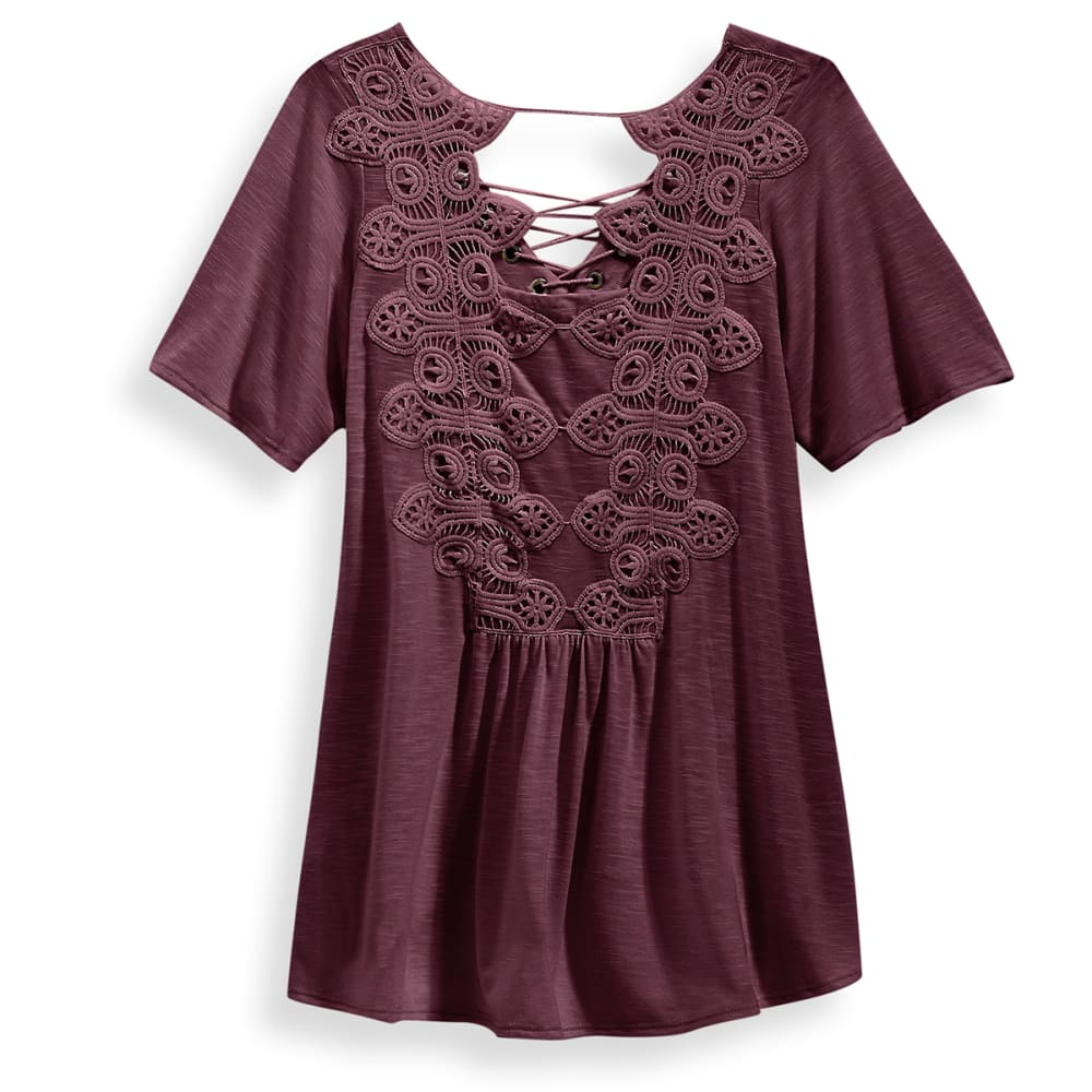 TAYLOR & SAGE Juniors' Lace-Up Crochet Back Knit Top - ELP-ELDERBERRY PLUM