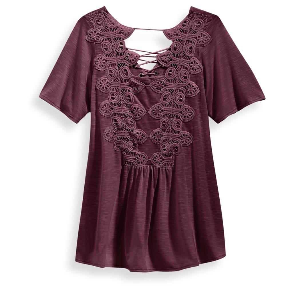 TAYLOR & SAGE Juniors' Lace-Up Crochet Back Knit Top - ELP-ELDERBERRY PLUM