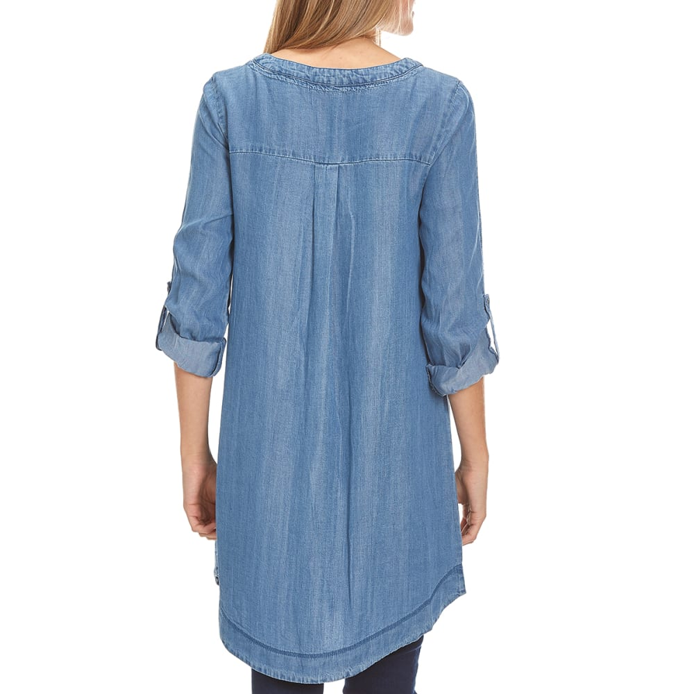 TAYLOR & SAGE Juniors' Lace-Up Tencel Tunic Dress - BIN-BLUE INDIGO