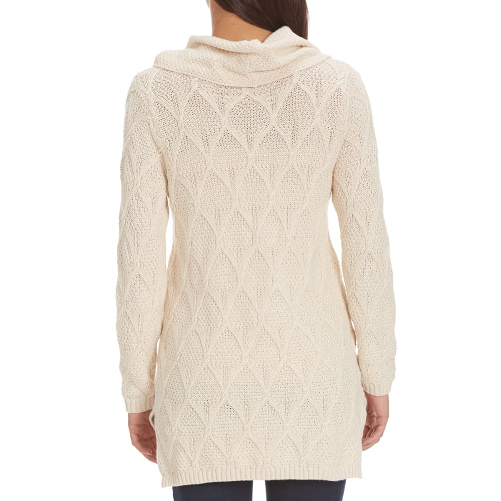 JEANNE PIERRE Women's Lattice Cowl Neck Sweater - LT HEATHER BEIGE