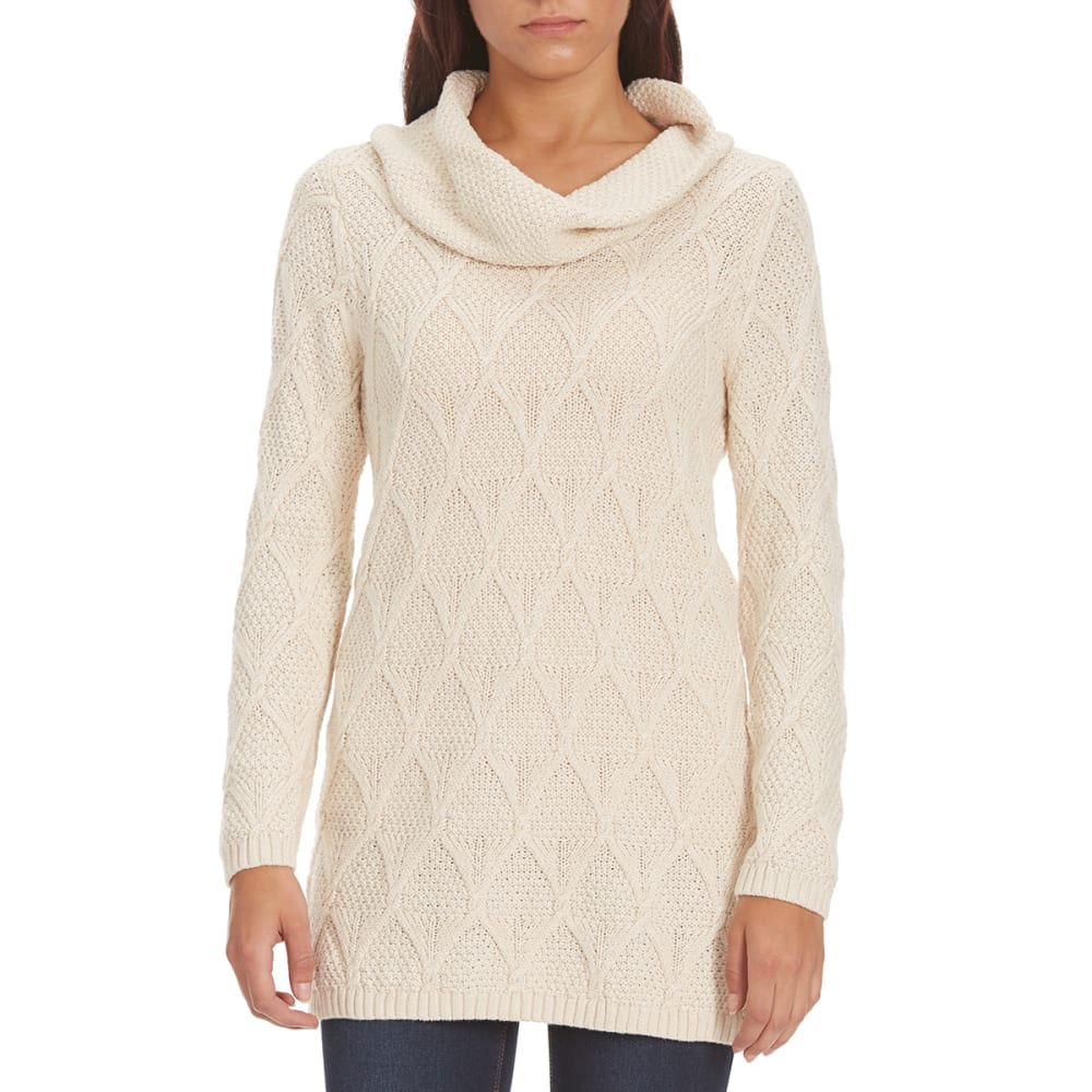 JEANNE PIERRE Women's Lattice Cowl Neck Sweater - LT HEATHER BEIGE