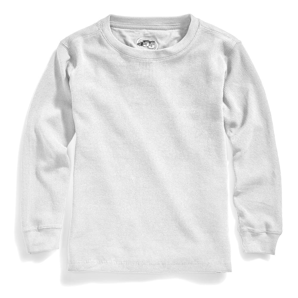 D55 Boys' Solid Thermal Crew Long-Sleeve Shirt - WHITE