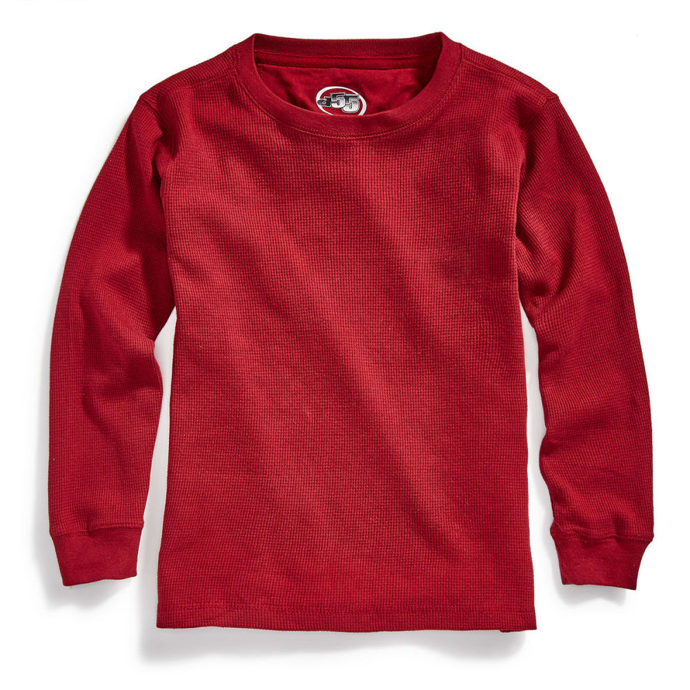 D55 Boys' Solid Thermal Crew Long-Sleeve Shirt - BIKING RED