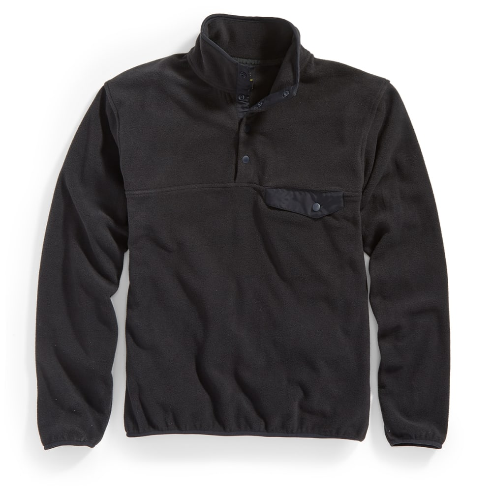 RUGGED TRAILS Men's Snap Fleece Pullover - BLACK/BLACK
