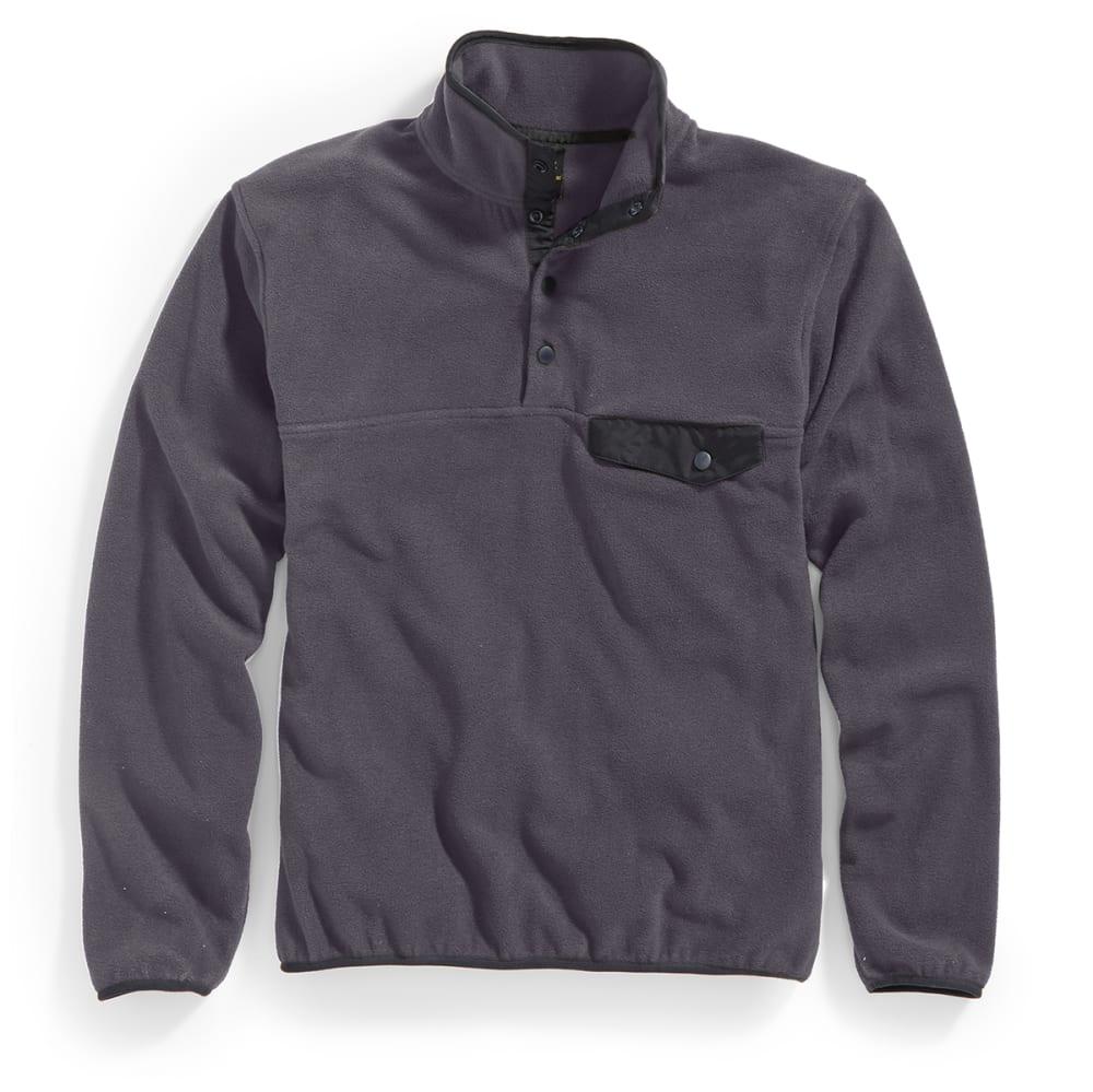 RUGGED TRAILS Men's Snap Fleece Pullover - CHAR/BLACK