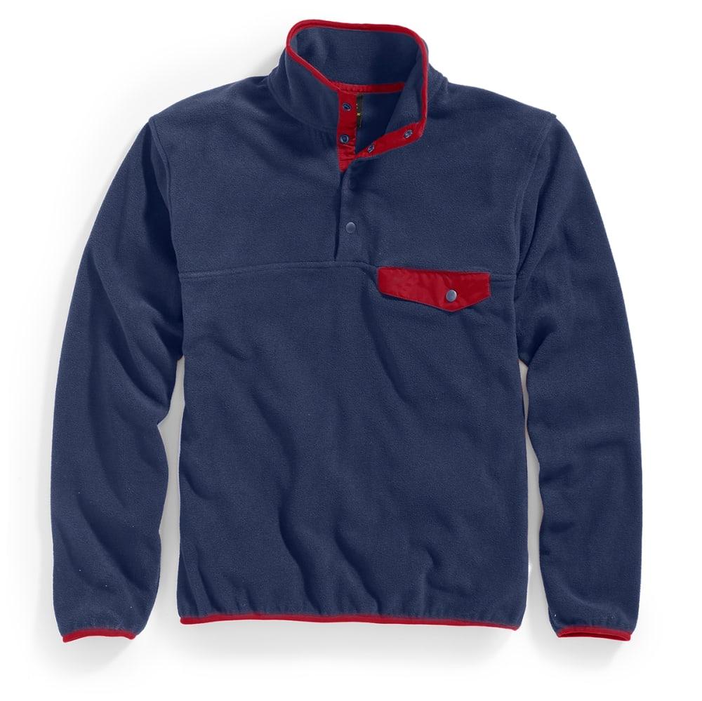 RUGGED TRAILS Men's Snap Fleece Pullover - NAVY/DEEP RED