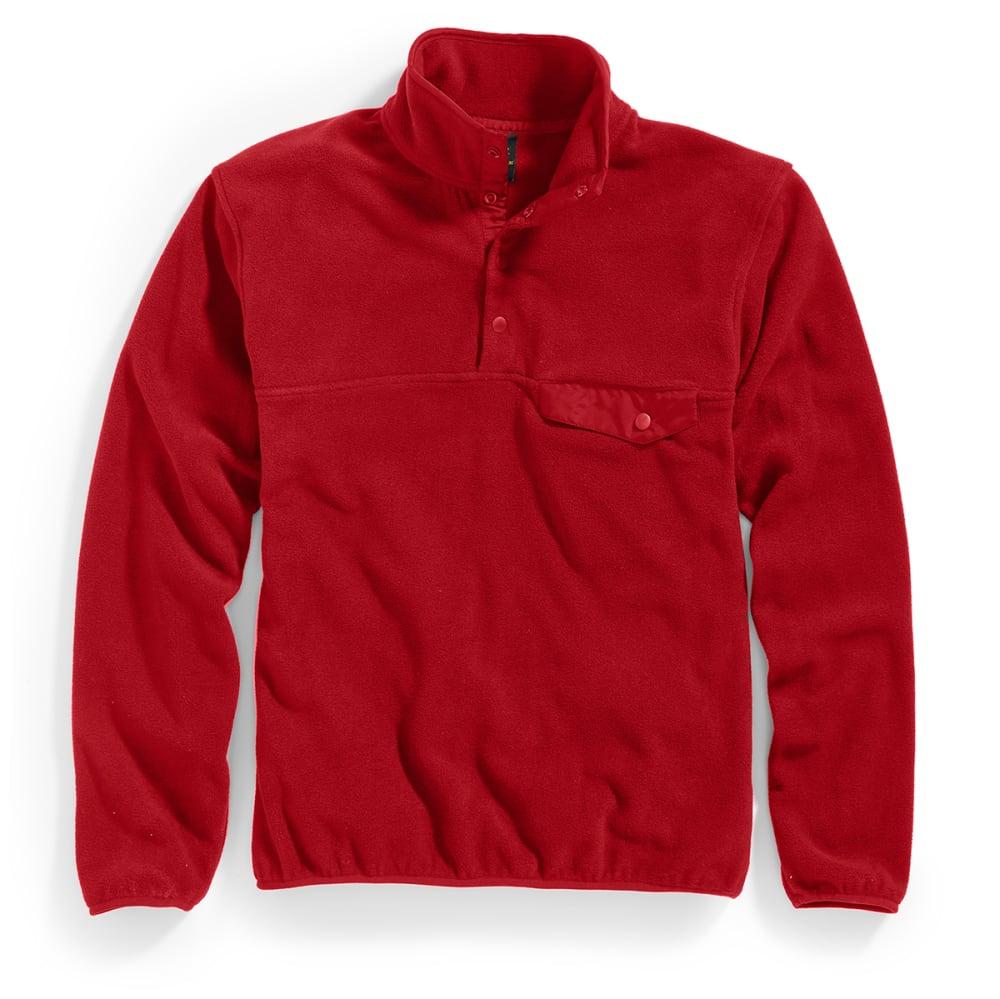 RUGGED TRAILS Men's Snap Fleece Pullover - DEEP RED/DEEP RED